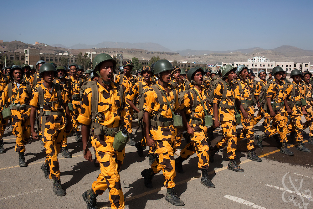 Some of the 2,000 newly recruited trainees of the Yemen Central Security Forces (CSF) march in a troop review April 14, 2010 on the parade grounds at the CSF headquarters in the Yemeni capital, Sana'a. Yemen faces a number of security problems including the Houthi rebellion in the north, separatists in the south and Al Qaeda in the Arabian Peninsula, but is taking steps to rapidly train and deploy a variety of security forces with the help of the USA, the UK, and other governments.