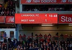 LIVERPOOL, ENGLAND - Saturday, February 24, 2018: Liverpool's Liverpool's scoreboard records the 4-1 victory over West Ham United after the FA Premier League match between Liverpool FC and West Ham United FC at Anfield. (Pic by David Rawcliffe/Propaganda)