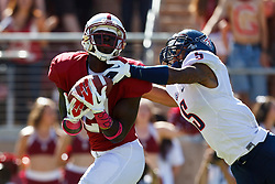 PALO ALTO, CA - OCTOBER 06: Wide receiver Jamal-Rashad Patterson #21 of the Stanford Cardinal catches a pass in front of cornerback Shaquille Richardson #5 of the Arizona Wildcats during the third quarter at Stanford Stadium on October 6, 2012 in Palo Alto, California. (Photo by Jason O. Watson/Getty Images) *** Local Caption *** Jamal-Rashad Patterson; Shaquille Richardson