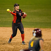 02 March 2018: San Diego State softball hosts Minnesota on day two of the San Diego Classic I at Aztec Softball Stadium.  San Diego State infielder Katie Byrd (11) fields a ground ball and throws to first in the fifth inning. The Aztecs beat the #21/20 Gophers 6-2.<br /> More game action at sdsuaztecphotos.com