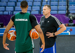 Anthony Randolph of Slovenia and Rado Trifunovic, assistant coach of Slovenia at training session during of the FIBA EuroBasket 2017 at Hartwall Arena in Helsinki, Finland on September 4, 2017. Photo by Vid Ponikvar / Sportida