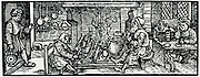 A Butcher. Woodcut from 'Calendarum Romanum Magnum',  1518.