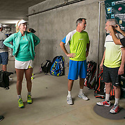 March 7, 2015, Indian Wells, California:<br /> Tracy Austin, CoCo Vandeweghe, Rick Leach, and John McEnroe talk below the stadium before the McEnroe Challenge for Charity presented by Masimo in Stadium 2 at the Indian Wells Tennis Garden in Indian Wells, California Saturday, March 7, 2015.<br /> (Photo by Billie Weiss/BNP Paribas Open)