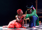 The Mad Hatter's Tea Party <br /> by Zoo Nation<br /> directed by Kate Prince<br /> presented by Zoo Nation, The Roundhouse & The Royal Opera House<br /> at The Roundhouse, London, Great Britain <br /> rehearsal <br /> 29th December 2016 <br /> <br /> <br /> Issac Turbo Baptiste<br /> as the Mad Hatter <br /> <br /> Teneisha Bonner as The Queen of Hearts <br /> <br /> <br /> Photograph by Elliott Franks <br /> Image licensed to Elliott Franks Photography Services