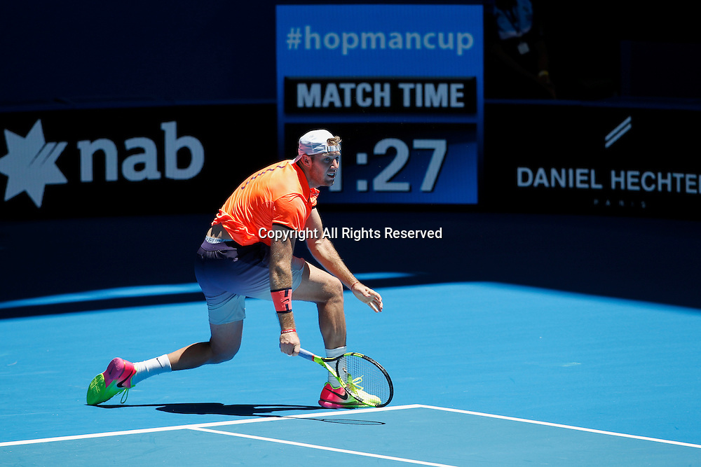 03.01.2017. Perth Arena, Perth, Australia. Mastercard Hopman Cup International Tennis tournament. Jack Sock (USA) plays a back hand shot during his match against Feliciano Lopez (ESP). Sock Won 3-6, 6-2, 6-3.