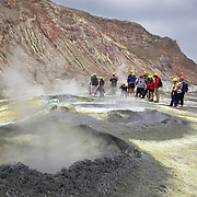 Tourists on White Island, North Island, New Zealand..Whakaari or White Island is an active volcano, situated 48 km from the east coast of the North Island of New Zealand, in the Bay of Plenty. .The island is roughly circular, about 2 km in diameter, and rises to a height of 321 m  above sea level. Sulphur mining was attempted but was abandoned in 1914 after ten workers were killed. It is New Zealand's only active marine volcano and perhaps the most accessible on earth, attracting scientists and volcanologists worldwide as well as many tourists. It is part of the Taupo Volcanic Zone.. The main activities on the island now are guided tours and scientific research. White Island, New Zealand, 5th December 2010.  Photo Tim Clayton.