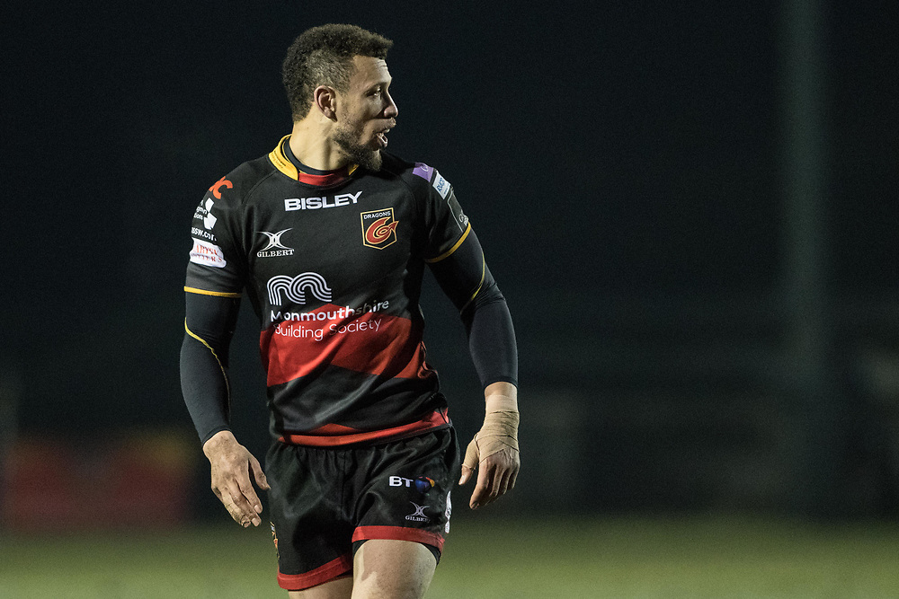 Dragons Zane Kirchner checks out his team mates defensive positions.<br /> <br /> Photographer Simon Latham/Replay Images<br /> <br /> Guinness PRO14 - Dragons v Edinburgh - Friday 23rd February 2018 - Eugene Cross Park - Ebbw Vale<br /> <br /> World Copyright © Replay Images . All rights reserved. info@replayimages.co.uk - http://replayimages.co.uk