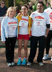 Eastenders actors Lindsey Coulson, (left), Nitin Ganatra (right) and TV presenter Anita Rani (centre)taking part in a one mile run for Sport Relief charity in London, 25th March 2012.  Photo by: i-Images