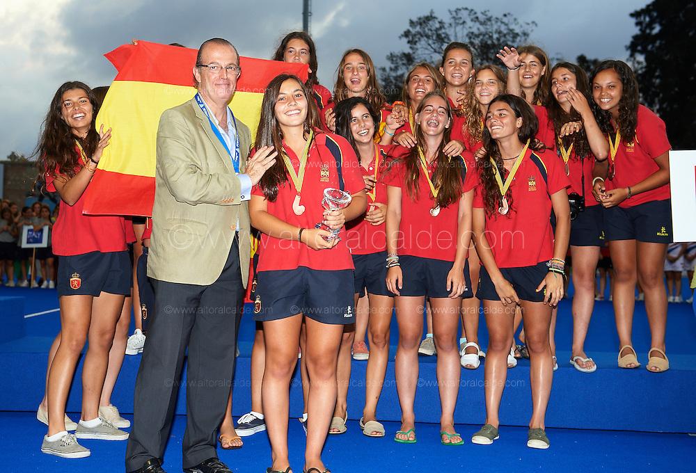 VALENCIA, SPAIN - JULY 6: Eurohockey Youth Championship  under 16 girls Valencia awards ceremony at the verge del carmen de betero on July 6, 2012 in Valencia, Spain. (Photo by Aitor Alcalde)