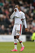 Milton Keynes Dons midfielder Rob Hall (38) looks dejected during the Sky Bet Championship match between Milton Keynes Dons and Brighton and Hove Albion at stadium:mk, Milton Keynes, England on 19 March 2016.