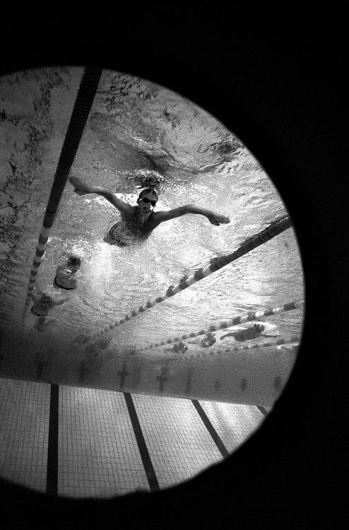 """©2003. Idrotten spelar en stor roll i Borlänge. I Maserhallen pågår dagligen simträning. Simsällskapet har fostrat storstjärnor som Per """"Senan"""" Johansson och Lars Frölander. Foto: Markus Marcetic"""