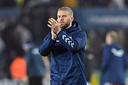 Adam Clayton (8) of Middlesbrough applauds the travelling fans at full time during the EFL Sky Bet Championship match between Swansea City and Middlesbrough at the Liberty Stadium, Swansea, Wales on 14 December 2019.