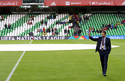 England manager Gareth Southgate inspects the pitch prior to the Nations League match at Benito Villamarin Stadium, Seville.