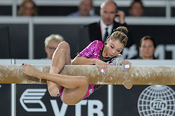 October 4, 2017 - Montreal, Quebec, Canada - SARA BERARDINELLI, from Italy, attempts to save falling during her routine on the balance beam during the third day of qualifying competition held at the Olympic Stadium. (Credit Image: © Amy Sanderson via ZUMA Wire)