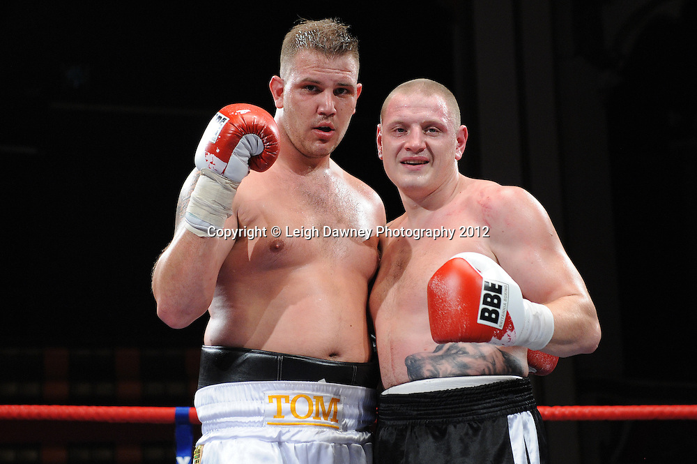 Tom Little (left) defeats Igoris Borucha in a 4x3min heavyweight contest at Olympia, Liverpool on the 21st January 2012. Frank Maloney Promotions on Skysports HD1. © Leigh Dawney Photography 2012.