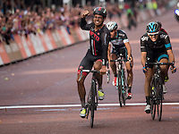 Adam Blythe (GBR) of NFTO crosses the line first at the finish of the Prudential RideLondon-Surrey Classic followed by Ben Swift (GBR) of Sky Pro Cycling and Julian Alaphillipe (FRA) of Omega Pharma- Quick Step. Sunday 10th August 2014<br /> Prudential RideLondonis the world&rsquo;s greatest festival of cycling involving 70,000+ cyclists &ndash; from Olympic champions to a free family fun ride - riding in five events over closed roads in London and Surrey over the weekend of 9th and 10th August. <br /> <br /> Photo: Jon Buckle for Prudential RideLondon<br /> <br /> See www.PrudentialRideLondon.co.uk for more.<br /> <br /> For further information: Penny Dain 07799 170433<br /> pennyd@ridelondon.co.uk
