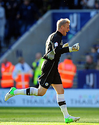 Leicester City's Kasper Schmeichel celebrates Leicester City's second goal - Photo mandatory by-line: Joe Meredith/JMP  - Tel: Mobile:07966 386802 06/10/2012 - Leicester City v Bristol City - SPORT - FOOTBALL - Championship -  Leicester  - King Power Stadium