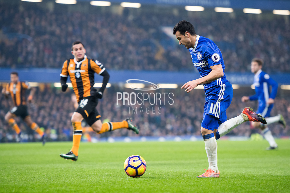 Chelsea forward Pedro (11) during the Premier League match between Chelsea and Hull City at Stamford Bridge, London, England on 22 January 2017. Photo by Sebastian Frej.