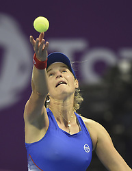 DOHA, Feb. 14, 2018  Ekaterina Makarova of Russia serves during the single's second round match against Simona Halep of Romania at the 2018 WTA Qatar Open in Doha, Qatar, on Feb. 14, 2018. Ekaterina Makarova lost 0-2.   wll) (Credit Image: © Nikku/Xinhua via ZUMA Wire)