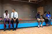 14.JUNE.2012. CLEVELAND<br /> <br /> PRESIDENT BARACK OBAMA TALKS TO KIDS DURING A STOP AT THE BOYS AND GIRLS CLUBS OF CLEVELAND ON BROADWAY AVENUE IN CLEVELAND, OHIO, JUNE 14, 2012.  <br /> <br /> BYLINE: EDBIMAGEARCHIVE.CO.UK<br /> <br /> *THIS IMAGE IS STRICTLY FOR UK NEWSPAPERS AND MAGAZINES ONLY*<br /> *FOR WORLD WIDE SALES AND WEB USE PLEASE CONTACT EDBIMAGEARCHIVE - 0208 954 5968*