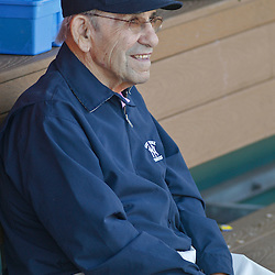 February 27, 2011; Clearwater, FL, USA; Retired New York Yankees player Yogi Berra watches batting practice before a spring training exhibition game against the Philadelphia Phillies at  Bright House Networks Field. Mandatory Credit: Derick E. Hingle