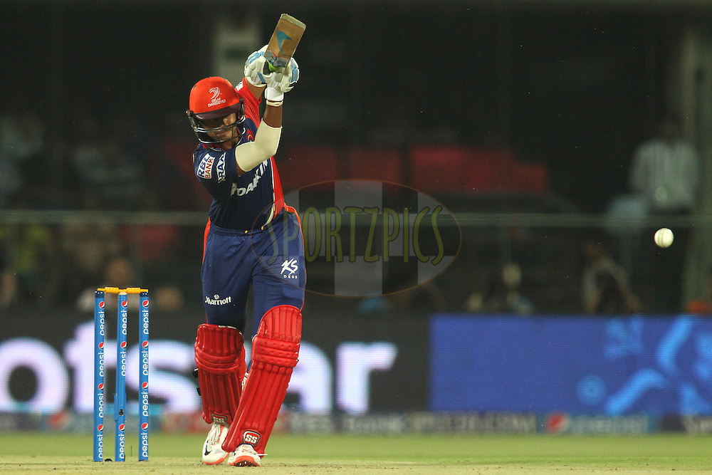 Shreyas Iyer of the Delhi Daredevils straight drives a delivery during match 21 of the Pepsi IPL 2015 (Indian Premier League) between The Delhi Daredevils and The Mumbai Indians held at the Ferozeshah Kotla stadium in Delhi, India on the 23rd April 2015.<br /> <br /> Photo by:  Shaun Roy / SPORTZPICS / IPL