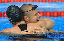At right Samuel Pizzetti celebrates with Federico Colbertaldo (both ITA) after Men's 1500m Freestyle at 3rd day of LEN European Short Course Swimming Championships Rijeka 2008, on December 13, 2008,  in Kantrida pool, Rijeka, Croatia. (Photo by Vid Ponikvar / Sportida)