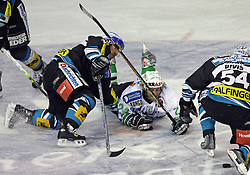 Kent Salfi of Linz, Tomaz Vnuk of ZM Olimpija and Raimund Divis of Linz at ice hockey matchZM Olimpija vs Liwest Linz in second round of semi-final of Ebel League (Erste Bank Eishockey Liga),  on February 28, 2008 in Arena Tivoli, Ljubljana, Slovenia. Win of ZM Olimpija 3:2. (Photo by Vid Ponikvar / Sportal Images)