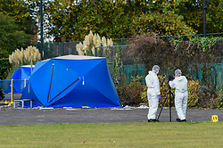 © Licensed to London News Pictures. 22/09/2019. SLOUGH, UK.  A forensics team at work near two two forensics tents at Salt Hill Park in Slough, Berkshire, where it is reported a 15 year old boy was fatally stabbed after an altercation with another male.  Emergency services attended the scene at 6.30pm on the evening of 21 September where the boy was pronounced dead.  Investigations are ongoing.  Photo credit: Stephen Chung/LNP