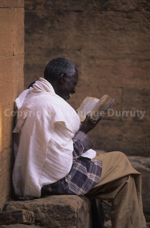 OLD MAN READING, YEHA TEMPLE, TIGRAY, ETHIOPIA