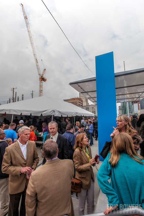 Ribbon cutting ceremony for the first completed Kansas City Streetcar platform at 16th & Main Streets, downtown Kansas City, MIssouri on April 24th, 2015.