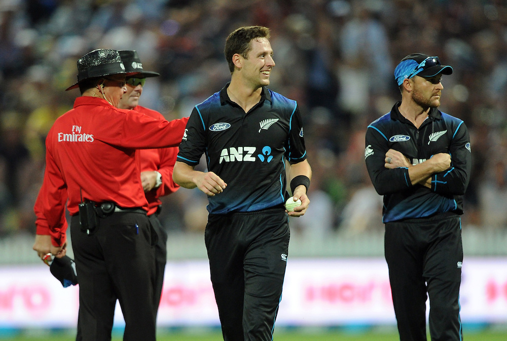 New Zealand's Matt Henry is all smiles after a caught and bowled was given in his favour after a video review against Australia's Mitchell Marsh in the 3nd One Day International Cricket match at Seddon Park, Hamilton, New Zealand, Monday, February 08, 2016. Credit:SNPA / Ross Setford