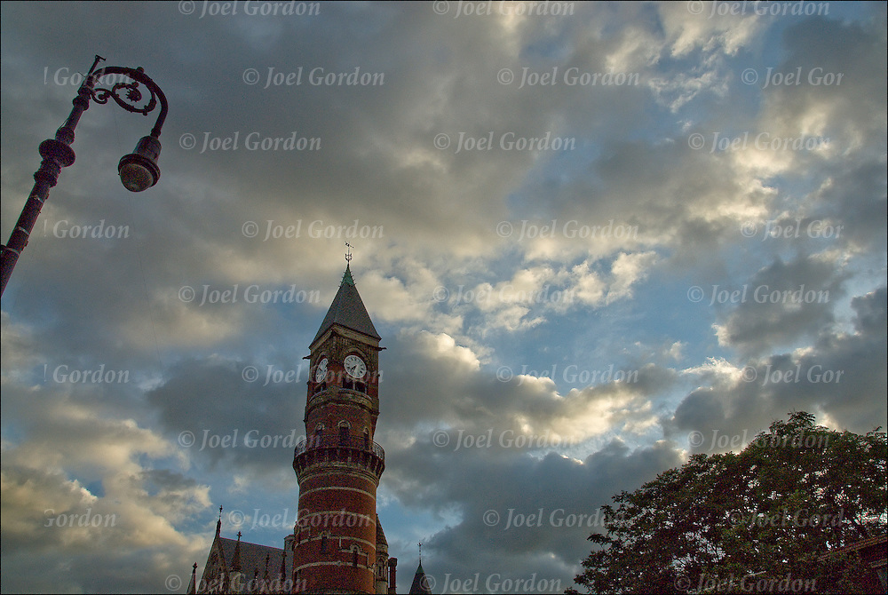 Silhouette of architectural details of the Jefferson Library in Greenwich Village before sunset in the summer