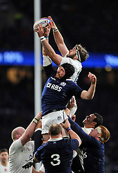 Geoff Parling of England competes with Tim Swinson of Scotland for the ball at a lineout - Photo mandatory by-line: Patrick Khachfe/JMP - Mobile: 07966 386802 14/03/2015 - SPORT - RUGBY UNION - London - Twickenham Stadium - England v Scotland - Six Nations Championship