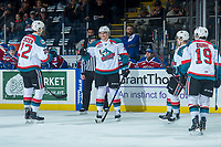 KELOWNA, CANADA - FEBRUARY 17:  Cal Foote #25 of the Kelowna Rockets celebrates a first period goal against the Edmonton Oil Kings on February 17, 2018 at Prospera Place in Kelowna, British Columbia, Canada.  (Photo by Marissa Baecker/Shoot the Breeze)  *** Local Caption ***