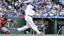 June 20, 2017 - Kansas City, MO, USA - The Kansas City Royals' Mike Moustakas connects on his 100th career home run in the second inning against the Boston Red Sox at Kauffman Stadium in Kansas City, Mo., on Tuesday, June 20, 2017. (Credit Image: © John Sleezer/TNS via ZUMA Wire)