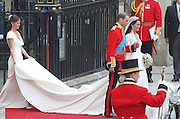 29.APRIL.2011. LONDON<br /> <br /> NEWLY MARRIED COUPLE PRINCE WILLIAM AND CATHERINE MIDDLETON WITH PIPPA MIDDLETON LEAVING WESTMINSTER ABBEY, LONDON.<br /> <br /> BYLINE: EDBIMAGEARCHIVE.COM<br /> <br /> *THIS IMAGE IS STRICTLY FOR UK NEWSPAPERS AND MAGAZINES ONLY*<br /> *FOR WORLD WIDE SALES AND WEB USE PLEASE CONTACT EDBIMAGEARCHIVE - 0208 954 5968*