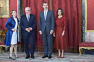 King Felipe VI of Spain, Queen Letizia of Spain, Frank-Walter Steinmeier, Elke Buedenbender attend an official lunch at Palacio Real on October 24, 2018 in Madrid, Spain