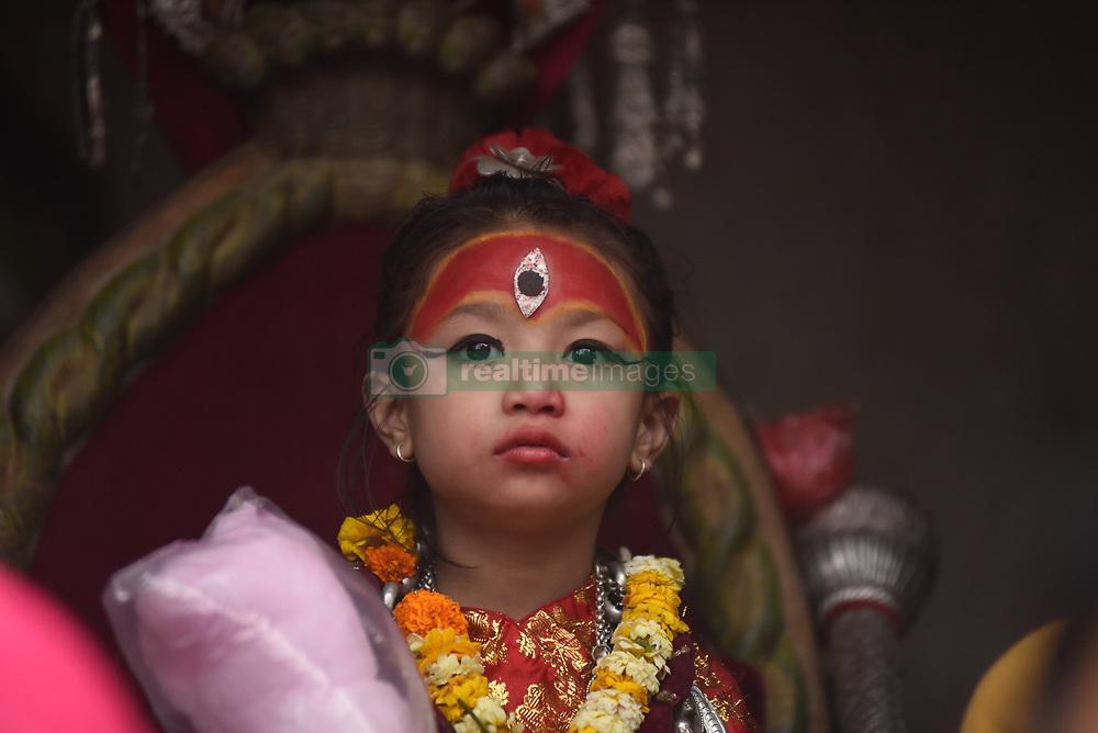 April 26, 2018 - Kathmandu, NP, Nepal - 5 yrs old Living goddess of Patan, Nihira Bajracharya, arrive to observe the Chariot Pulling Festival of Rato Machindranath 'God of Rain' from Lagankhel on Thursday, April 26, 2018. Rato Machindranath is also said as the 'god of rain' and both Hindus and Buddhists worship the Machindranath in hope of good rain to prevent drought during the rice plantation season. (Credit Image: © Narayan Maharjan/NurPhoto via ZUMA Press)