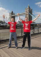Virgin Money London Marathon 2015<br /> <br /> Photocall featuring the original winners from the first London Marathon in 1981 when the men crossed the line hand in hand to jointly win in a un precedented show of sportsmanship.<br /> <br /> Left to Right<br /> Dick Beardsley<br /> Inge Simonsen<br /> <br /> <br /> Photo: Bob Martin for Virgin Money London Marathon<br /> <br /> This photograph is supplied free to use by London Marathon/Virgin Money.