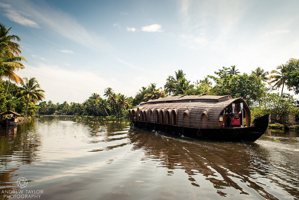 A rice barge on the Keralan backwaters