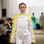 13.05.2016.           <br /> A model showcases designs by Eva Haran titled 'Internment'  at the much anticipated Limerick School of Art & Design, LIT, (LSAD) Graduate Fashion Show on Thursday 12th May 2016. The show took place at the LSAD Gallery where 27 graduates from the largest fashion degree programme in Ireland showcased their creations. Ranked among the world's top 50 fashion colleges, Limerick School of Art and Design is continuing to mold future Irish designers.. Picture: Alan Place/Fusionshooters