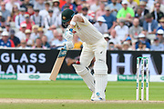 The ball drops down between the pad and leg of Steve Smith of Australia off the bowling of Chris Woakes of England during the International Test Match 2019 match between England and Australia at Edgbaston, Birmingham, United Kingdom on 3 August 2019.
