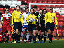 UEFA match officials lead the players onto the pitch at Ashton Gate - Photo mandatory by-line: Paul Knight/JMP - Mobile: 07966 386802 - 21/03/2015 - SPORT - Football - Bristol - Ashton Gate Stadium - Bristol Academy v FFC Frankfurt - UEFA Women's Champions League