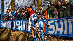 Allen KRUGHOFF (19,USA), 4th lap at Men UCI CX World Championships - Hoogerheide, The Netherlands - 2nd February 2014 - Photo by Pim Nijland / Peloton Photos
