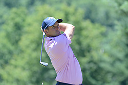 July 8, 2018 - White Sulphur Springs, WV, U.S. - WHITE SULPHUR SPRINGS, WV - JULY 08: Sam Saunders hits his tee shot on the third hole during the final round of the Military Tribute at the Greenbrier in White Sulphur Springs, WV, on July 8, 2018.(Photo by Brian Bishop/Icon Sportswire) (Credit Image: © Brian Bishop/Icon SMI via ZUMA Press)
