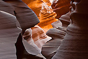 "Lower Antelope Canyon (or ""the Corkscrew"") is a beautiful slot canyon in Antelope Canyon Navajo Tribal Park, near Page, Arizona, USA. Antelope Canyon is the most-visited and most-photographed slot canyon in the American Southwest. Flash floods and other erosion have carved Navajo Sandstone into this natural rock cathedral."
