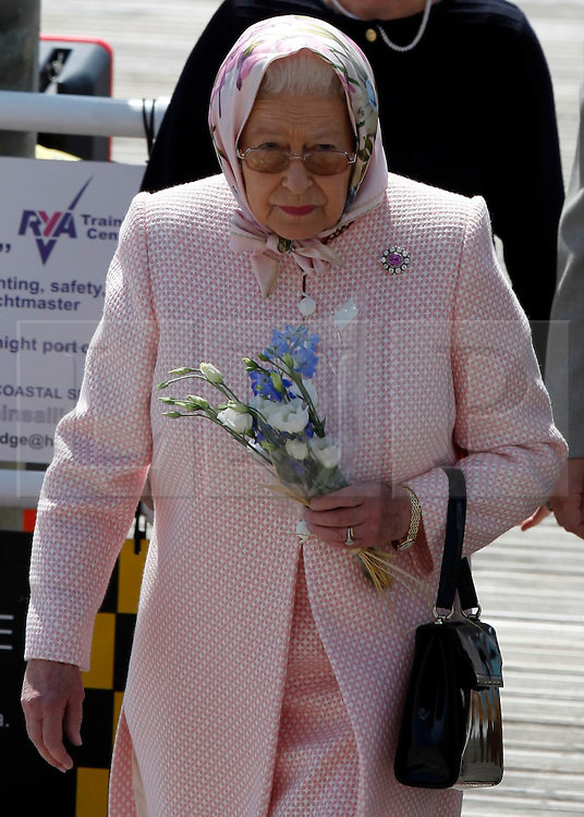 © under license to London News Pictures.  25/05/2011.  The Queen pays a personal visit to Sir Donald Gosling, The National Car Parks Tycoon. They dined on his super yacht 'Leander' in Gunwharf, Portsmouth. Picture credit should read: Bryan Moffat/London News Pictures