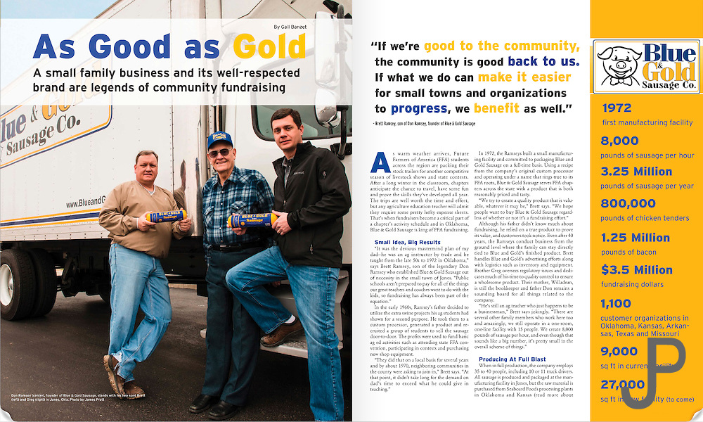 Inside cover page for Blue and Gold Sausage story for Oklahoma Living Magazine April 2013.