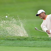 24 January 2013: Tiger Woods attempts a shot out of a bunker on the 6th hole resulting in an Eagle during Round 1 of the Farmers Insurance Open at Torrey Pines Golf Course in La Jolla, CA